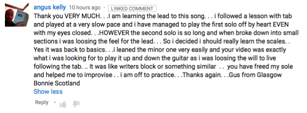 YouTube comment for Comfortably Numb solo